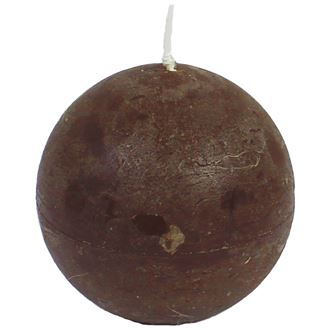 Candle, dark brown ball, d. 8 cm, S0013-17