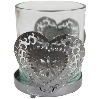 Metal candlestick with heart, K0050