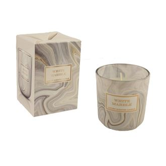 Candle in glass 150g - MARBLE White MB0013