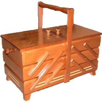 Sewing box light brown, wooden, large 0960012