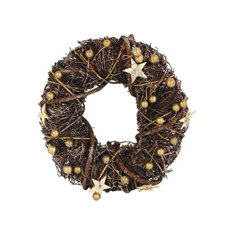 Wreath with golden decorations dia 25 cm P0472