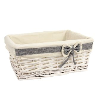 White basket with fabric middle P0802/S