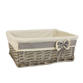 Grey basket with fabric middle P0860/S