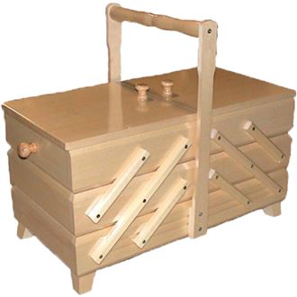 Sewing box natural, wooden, large 0960011