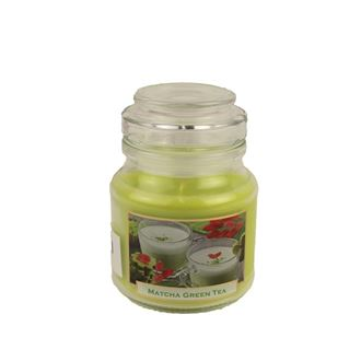 Candle with scent 130g in a glass jar with a lid - GREEN TEA Matcha MB0008