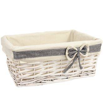 White basket with fabric large P0802/V
