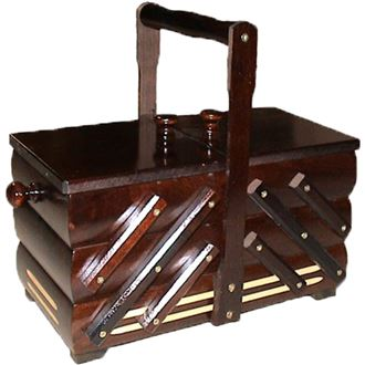 Sewing box dark brown wooden, small 0960007