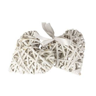 Willow heart white 15cm, set 2pcs 381936-01,  II quality