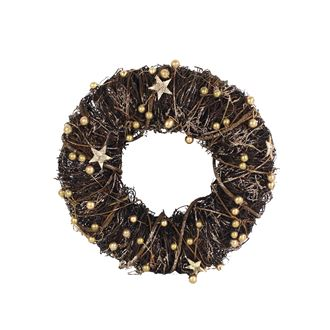 Wreath with golden decorations dia 35cm P0497