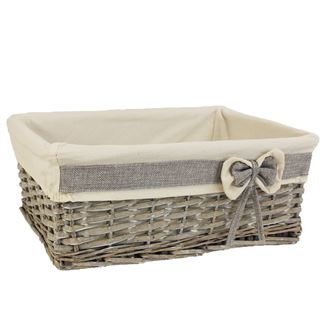 Grey basket with fabric large P0860/V